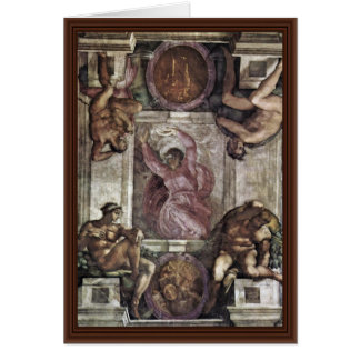 The Creator God, And Four Youths By Michelangelo Greeting Card