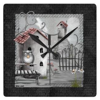 The Creek Gothic Folk Art Square Wall Clock