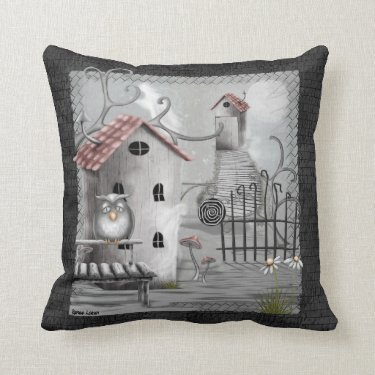 The Creek Gothic Folk Art Throw Pillow