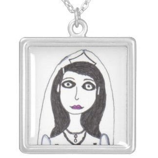 The Creepy Wedding the Bride Square Pendant Necklace