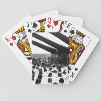 The crew of the USS SOUTH DAKOTA stands_War Image Poker Deck