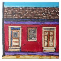 "The ""Crimson Red, Tucson Barrio"" Decorative Tile"