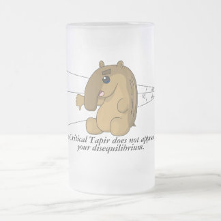 The Critical Tapir Does Not Approve Frosted Glass Beer Mug