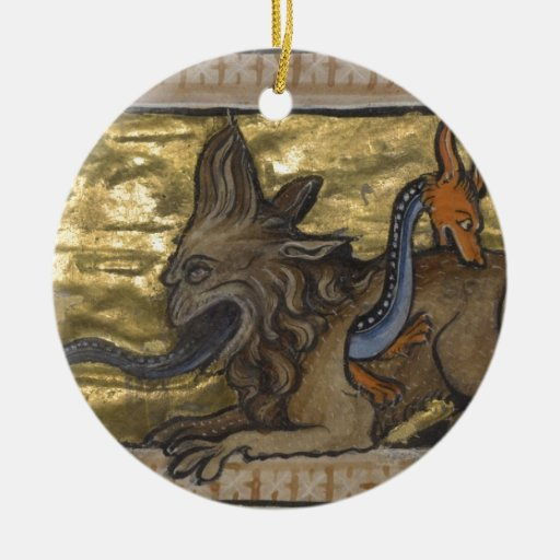 The Crocodile and The Hydrus Double-Sided Ceramic Round Christmas Ornament