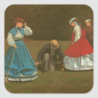 The croquet game, 1866 (oil on canvas) square sticker