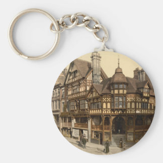 The Cross and Rows, Chester, Cheshire, England Basic Round Button Keychain