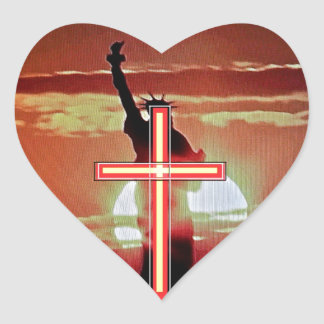 The Cross and the Statue of Liberty. Heart Sticker