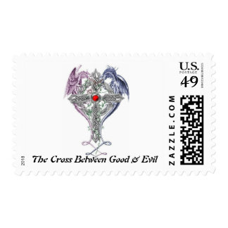 The Cross Between Good And Evil! Postage Stamp