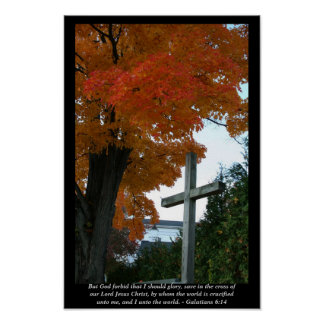 The Cross in Autumn Light - Scripture Print