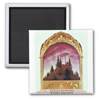 The Cross In The Mountains 2 Inch Square Magnet
