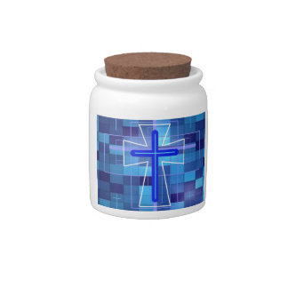 The Cross on ceramic tiles Candy Jar