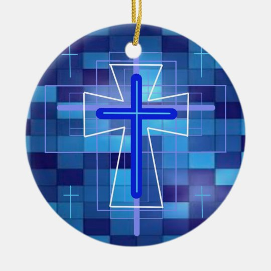 The Cross on ceramic tiles. Ceramic Ornament