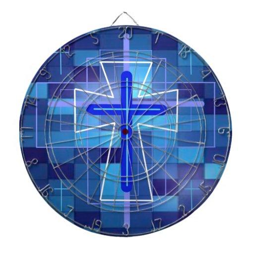 The Cross on ceramic tiles. Dartboard