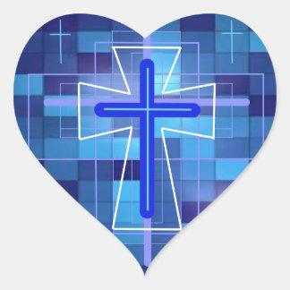 The Cross on ceramic tiles. Heart Sticker