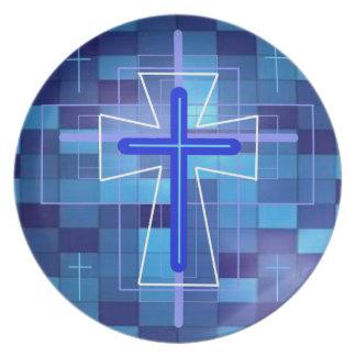 The Cross on ceramic tiles. Plate