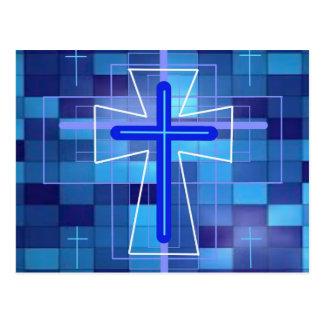 The Cross on ceramic tiles. Postcard