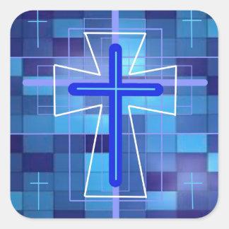 The Cross on ceramic tiles. Square Sticker