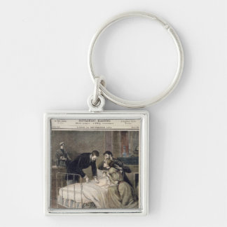The Croup Cured by Doctor Roux Silver-Colored Square Keychain