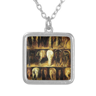 The Croups by Theodore Gericault Square Pendant Necklace