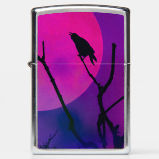 The Crow and The Pink Moon Zippo Lighter
