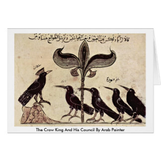 The Crow King And His Council By Arab Painter Greeting Card