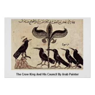 The Crow King And His Council By Arab Painter Print