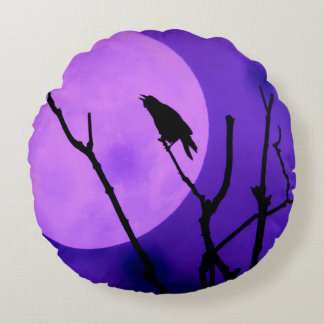 The Crow, The Moon, The Purple Sky Round Pillow