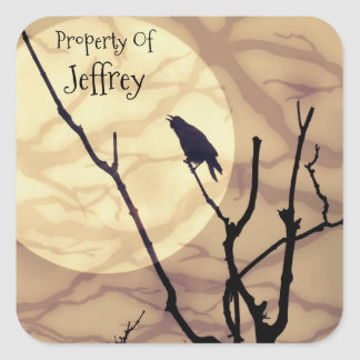 The Crow, The Moon, The Shadows *personalize* Square Sticker
