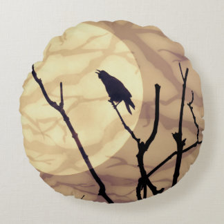 The Crow, The Moon, The Shadows Round Pillow
