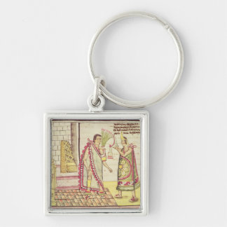 The Crowning of Montezuma II Silver-Colored Square Keychain