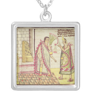 The Crowning of Montezuma II Silver Plated Necklace