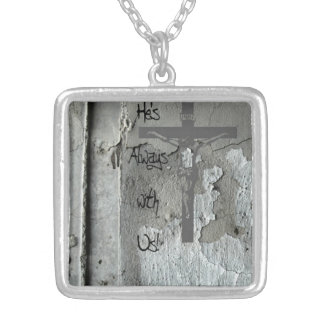 The Crucifix on an Old Concrete Wall with Message Square Pendant Necklace