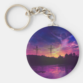 The Crucifixion of Jesus Christ on the Cross Basic Round Button Keychain