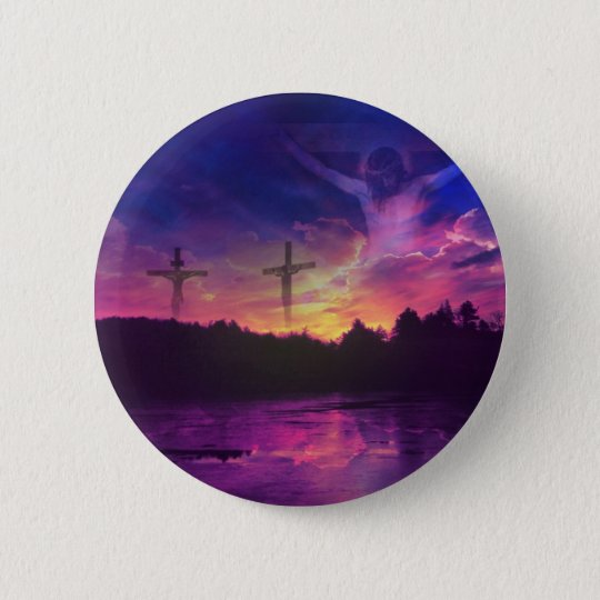 The Crucifixion of Jesus Christ on the Cross Button