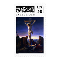 The Crucifixion of Jesus . Fine Art Postage Stamps