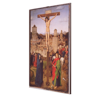 The Crucifixion (oil on panel) Canvas Print