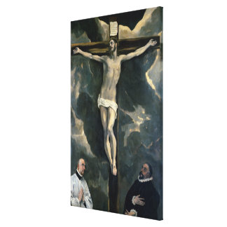 The Crucifixion with Two Donors, c.1580 (oil on ca Canvas Print