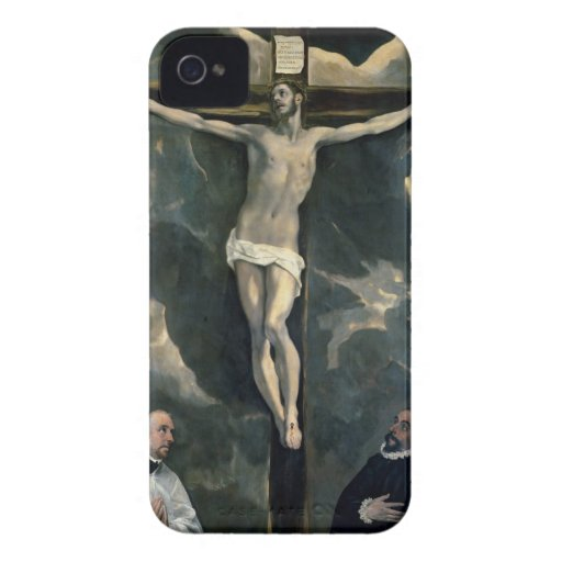 The Crucifixion with Two Donors, c.1580 (oil on ca iPhone 4 Cover