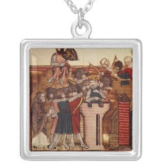 The Crusader assault on Jerusalem Square Pendant Necklace
