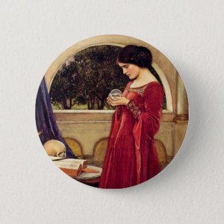 """The Crystal Ball"" by John William Waterhouse Pinback Button"