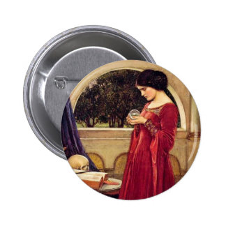 """""""The Crystal Ball"""" by John William Waterhouse Pinback Button"""