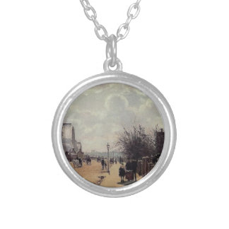The Crystal Palace, London by Camille Pissarro Round Pendant Necklace