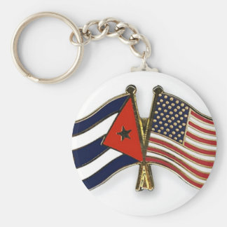 The Cuban Flag and the American Flag Basic Round Button Keychain