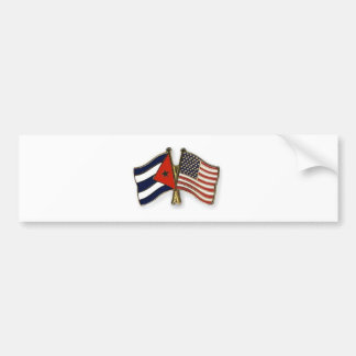 The Cuban Flag and the American Flag Bumper Sticker