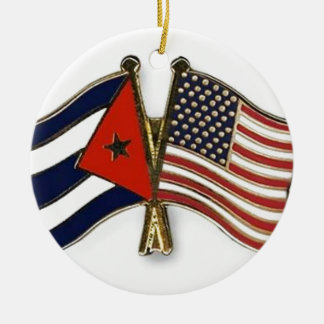 The Cuban Flag and the American Flag Ceramic Ornament