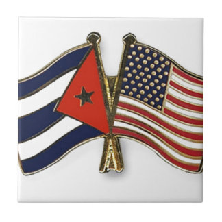 The Cuban Flag and the American Flag Ceramic Tile