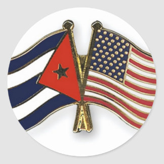 The Cuban Flag and the American Flag Classic Round Sticker