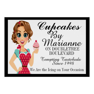 The Cupcake Lady, Bakery, Catering Business Poster