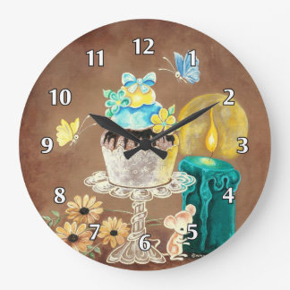 The Cupcake, the Candle, and the Mouse Large Clock