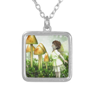 The Curious Fairy - Fairy and Toadstools Silver Plated Necklace